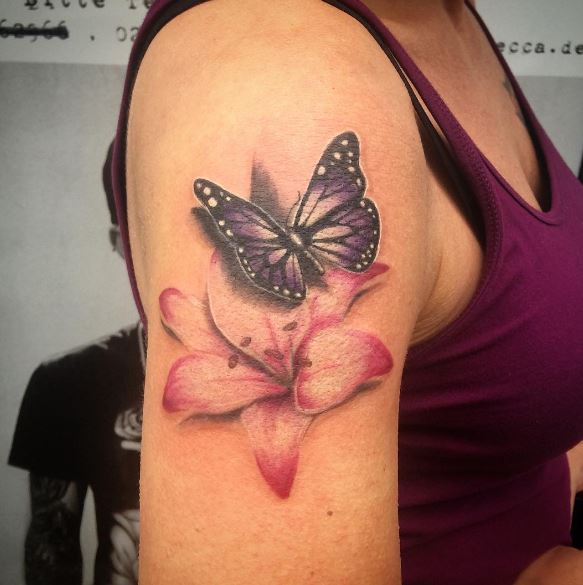 Butterfly And Flower Tattoos 1