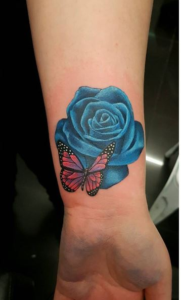 Butterfly And Rose Tattoos
