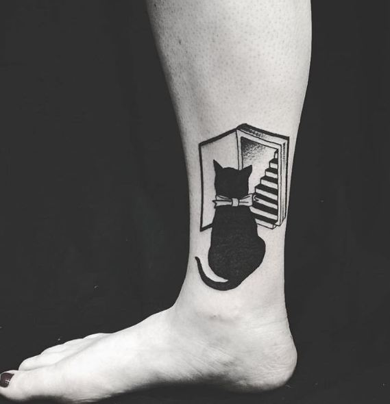 Cat Leg Tattoos On Ankle