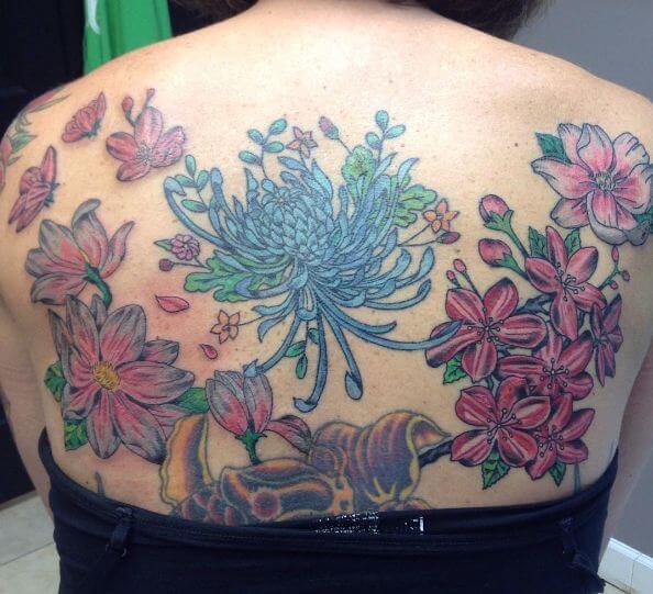 Cherry Blossom Back Tattoos
