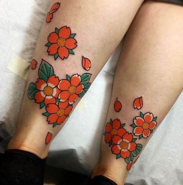 Cherry Blossom Leg Tattoos