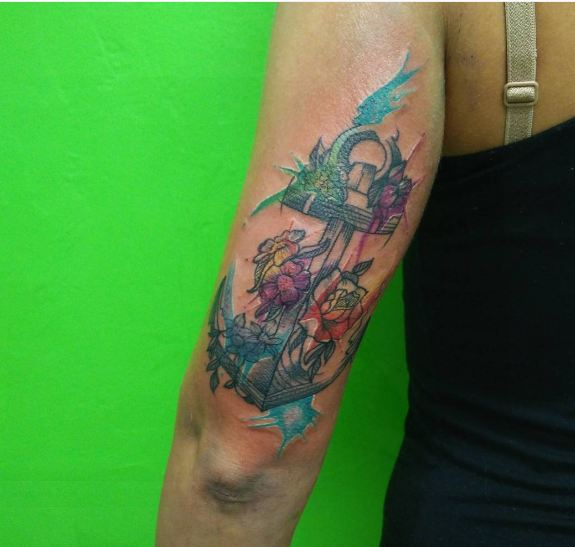 Colorful Sketch Style Anchor Tattoos