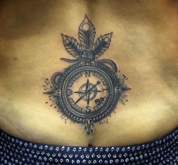 Compass Lower Back Tattoos