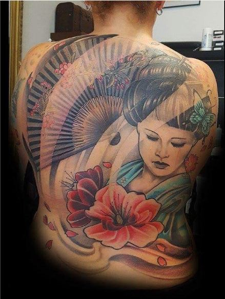 Cool Geisha Tattoos Full Back