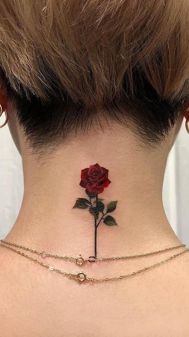 Dark Red Rose Tattoo (3)