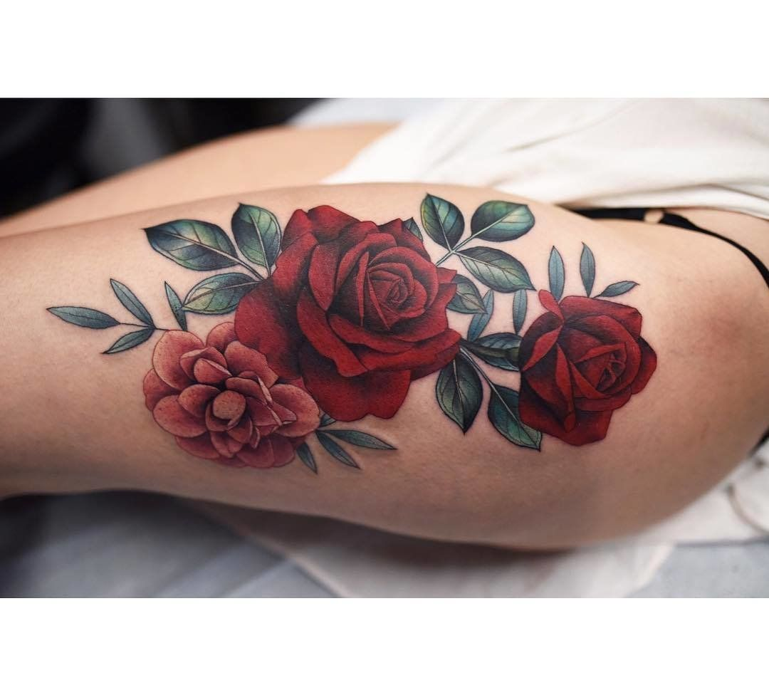 Dark Red Rose Tattoo (4)