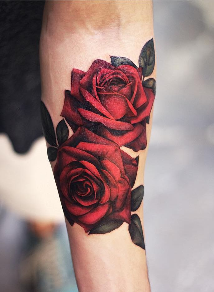 Dark Red Rose Tattoo (5)