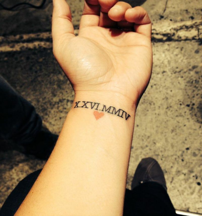 Date Of Birth In Roman Numerals Tattoo (142)