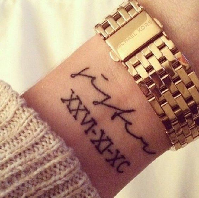 Date Of Birth In Roman Numerals Tattoo (26)