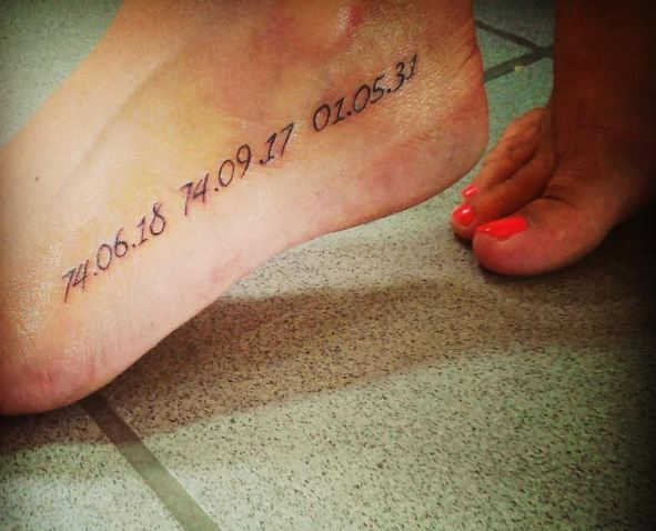 Date Tattoos On Feet