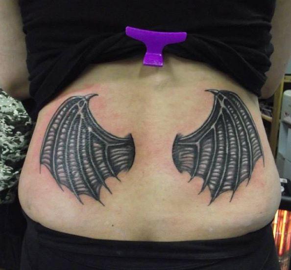 Devils Wings Lower Back Tattoos