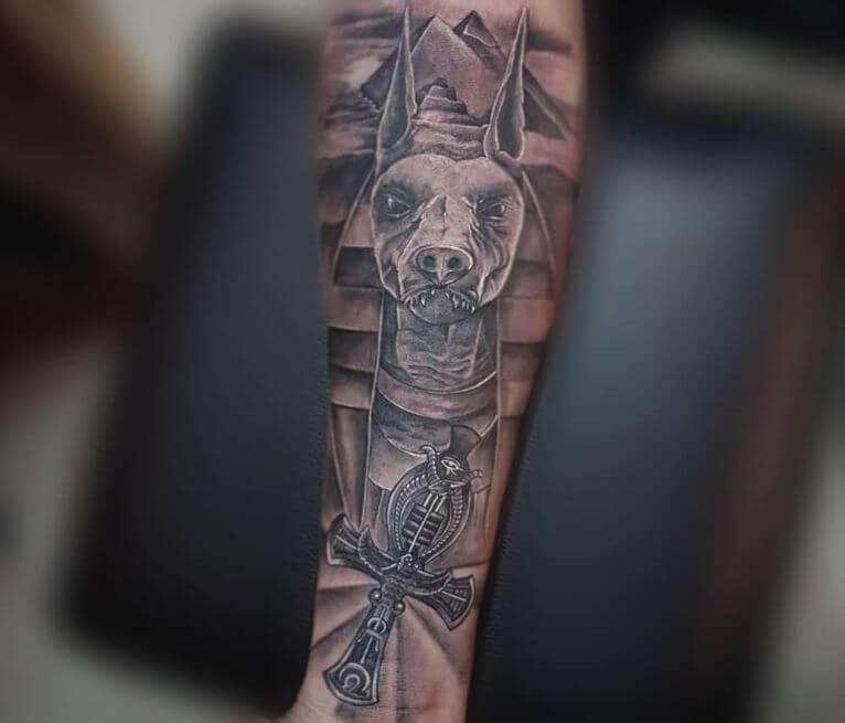 Egyptian Anubis Tattoos On Forearm