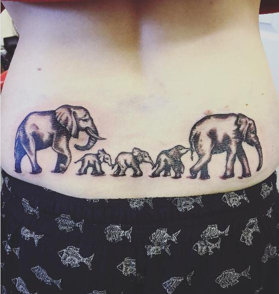 Elephant Lower Back Tattoos