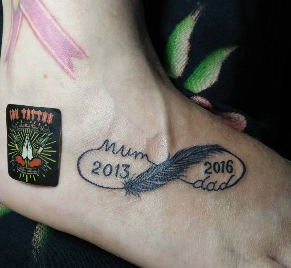 Feather With Date Tattoos