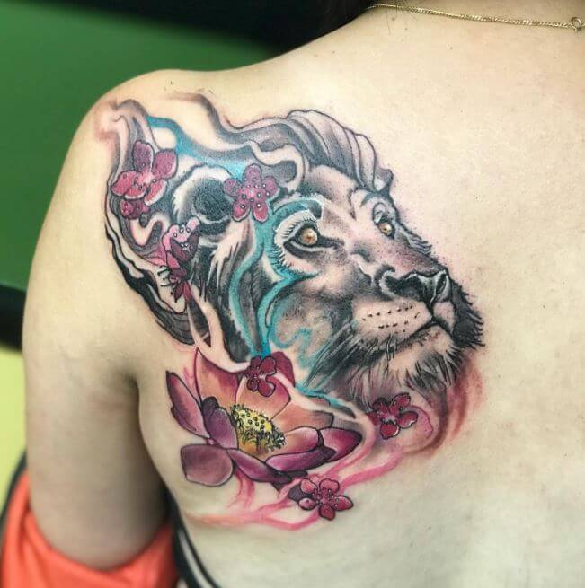 Feminine Lion Tattoo