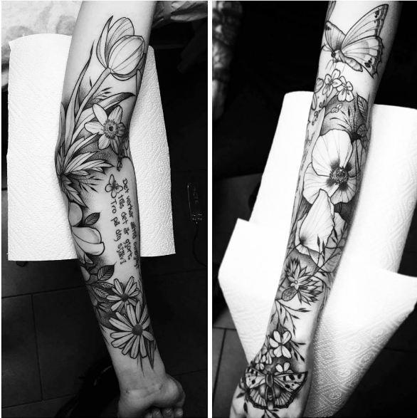 Floral Sleeve Tattoos