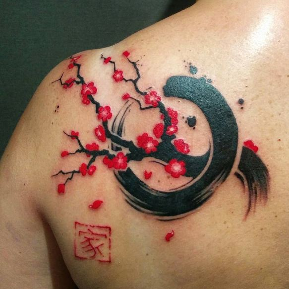 Flower With Chinese Tattoos