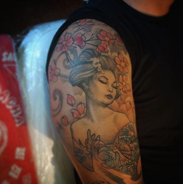 Flower With Geisha Tattoos