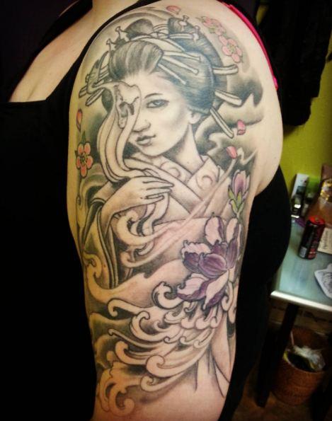 Geisha Tattoo Black And Gray