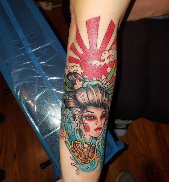 Geisha Tattoos On Arm