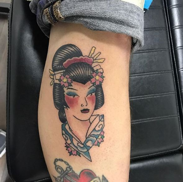 Geisha Tattoos On Calf