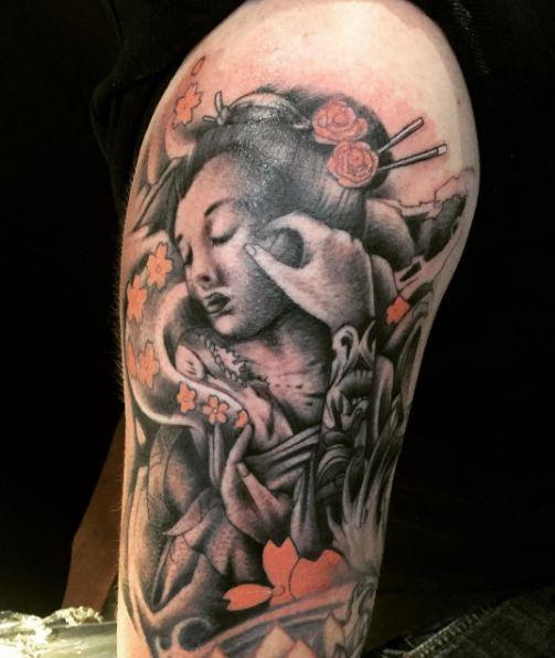 Geisha Tattoos On Half Sleeve