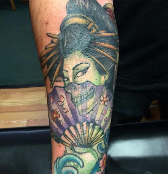 Geisha Tattoos On Leg