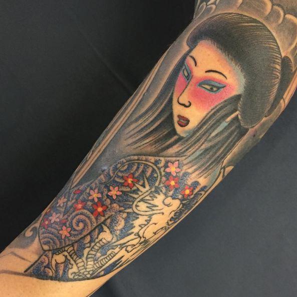 Geisha Tattoos On Sleeve