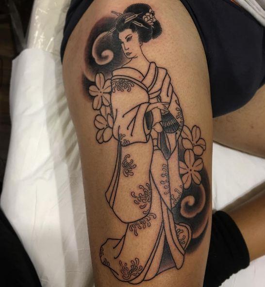 Geisha Tattoos On Thigh