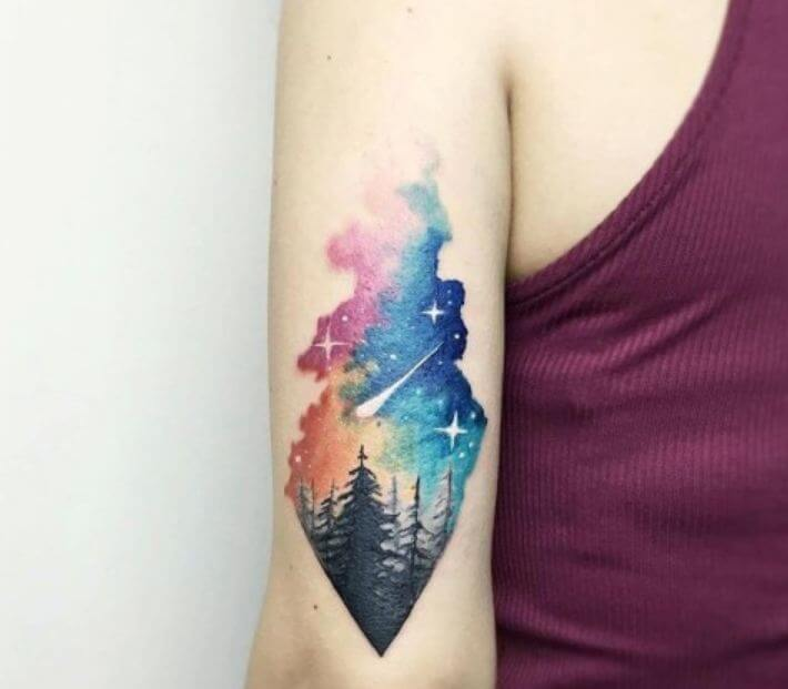 Geometric Watercolor Tattoos