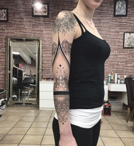 Girl With Sleeve Tattoos