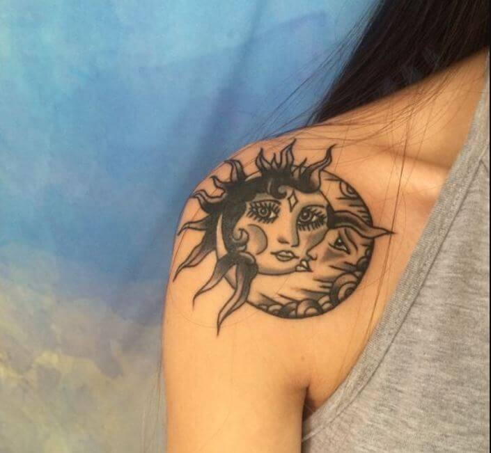 Girly Sun And Moon Tattoos