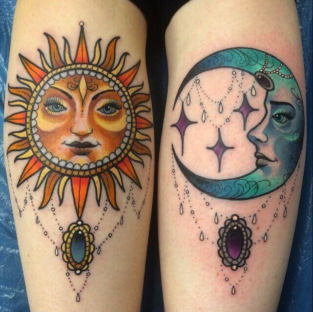 Gothic Sun And Moon Tattoo