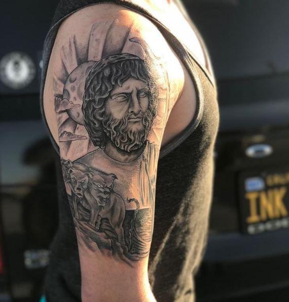 Greek Quarter Sleeve Tattoos