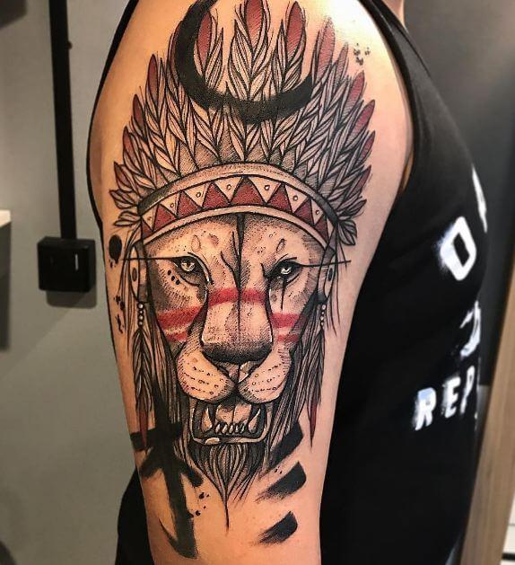 Half Sleeve Lion Tattoos