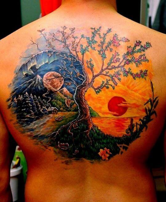 Japanese Sun And Moon Tattoo