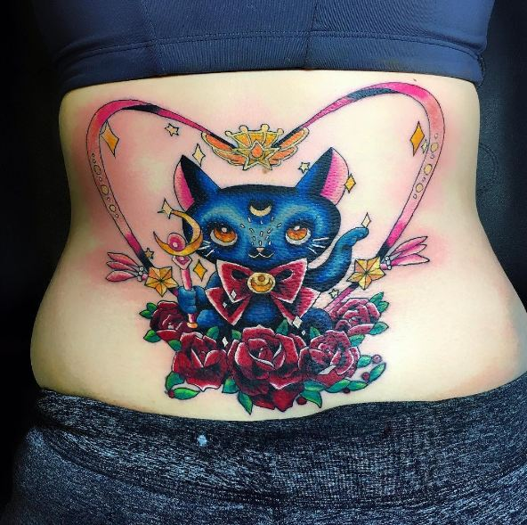 Kitty Cat Lower Back Tattoos