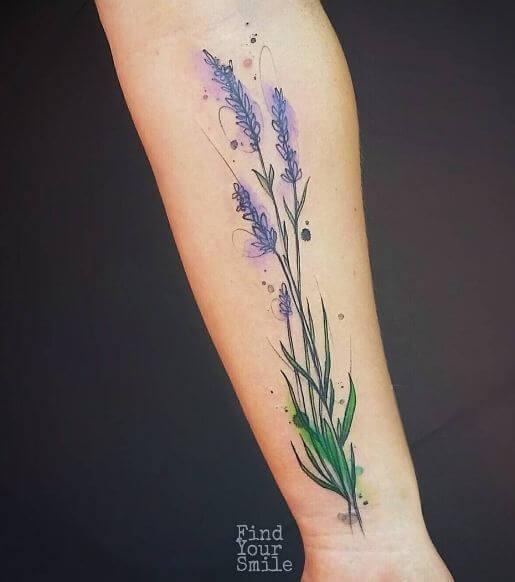 Lavender Watercolor Flower Tattoos