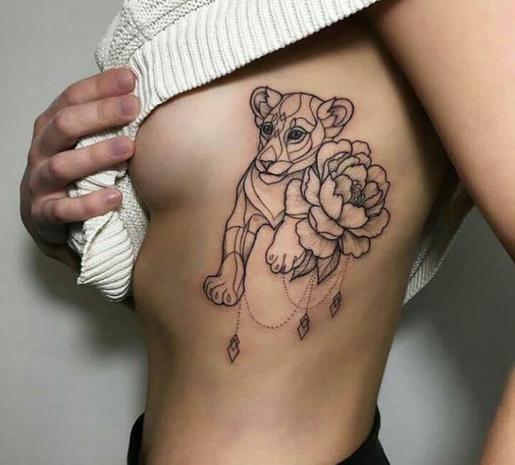 Lion Rib Tattoo
