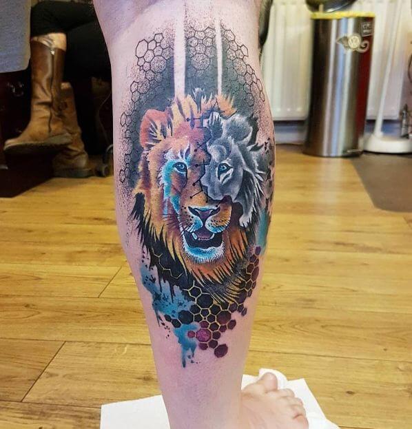 Lion Tattoos On Leg