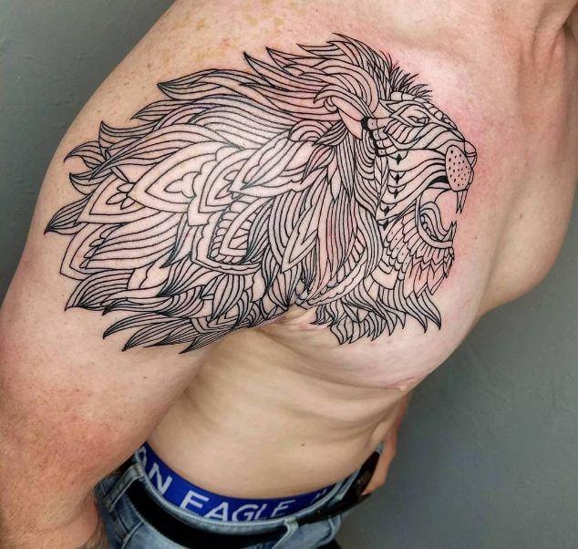Lion Tattoos On Shoulder