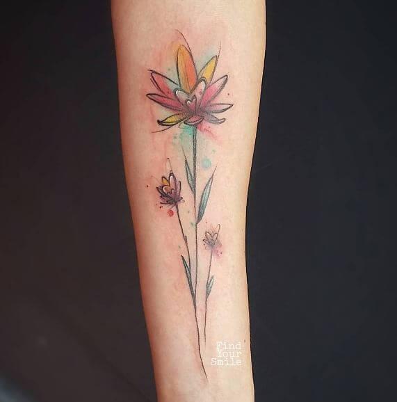 Little Watercolor Flower Tattoos