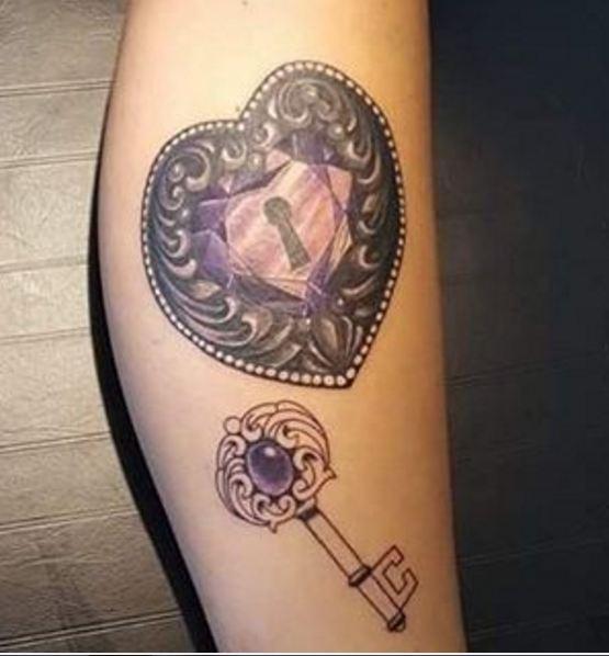 Lock And Key Leg Tattoos