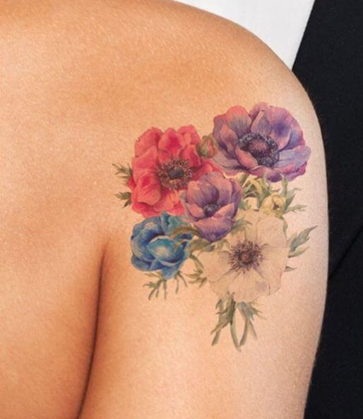 Lovely Watercolor Flower Tattoos