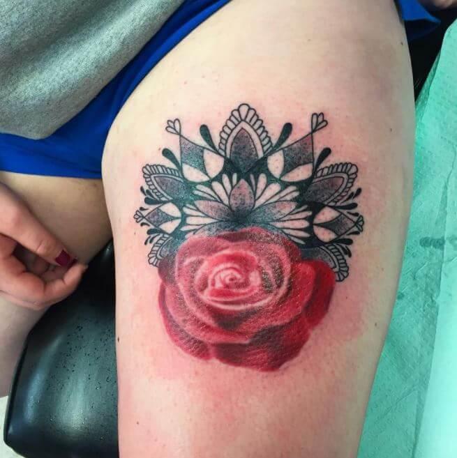 Mandala And Flower Tattoo