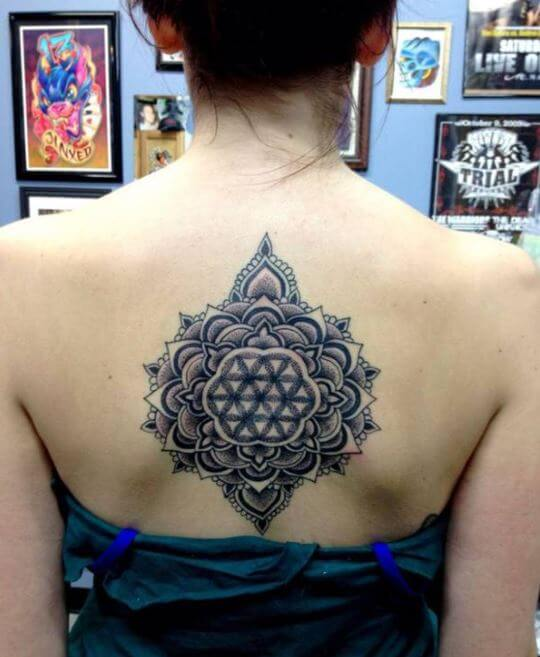Mandala Spine Tattoo