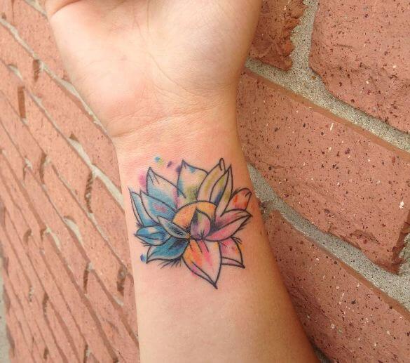 Mini Watercolor Flower Tattoos