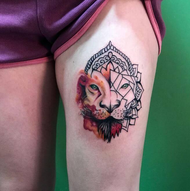 Minimalist Lion Tattoo