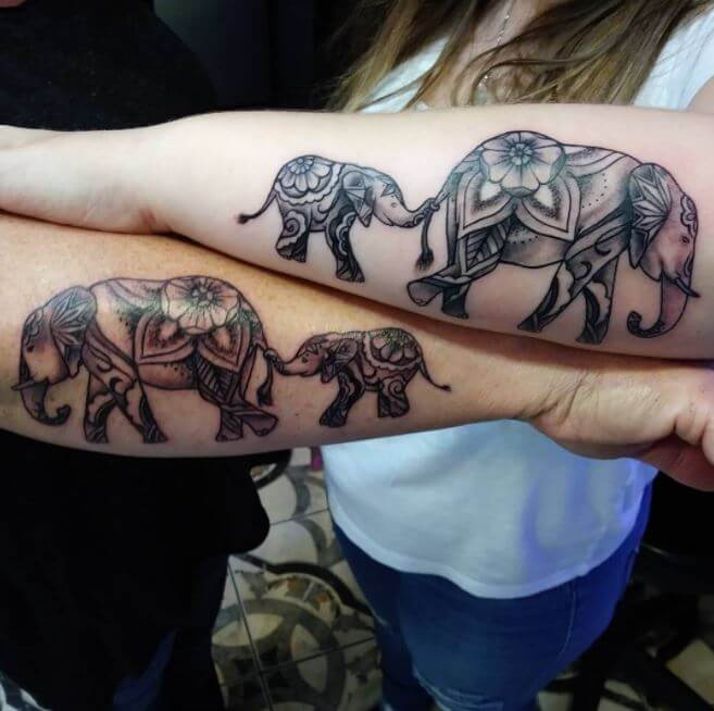 Mother Daughter Elephant Tattoo