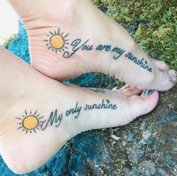 Mother Daughter Tattoos On Foot